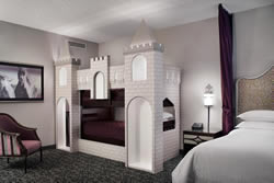 a castle bunk-bed at the Anaheim Majestic Garden Hotel