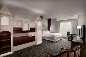Castle-themed rooms at Anaheim Majestic Garden Hotel in Orange County
