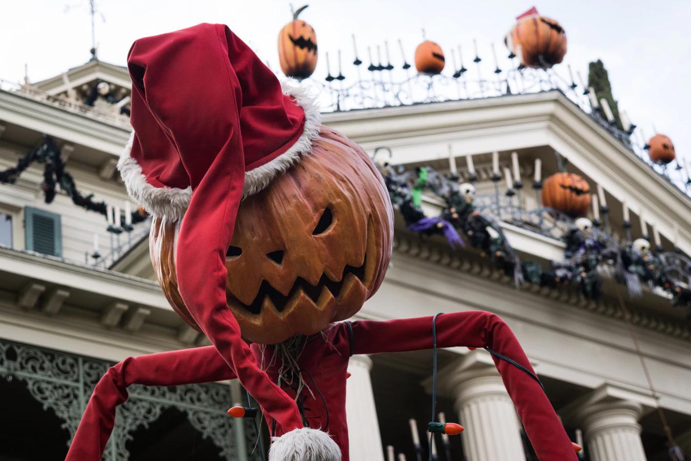 Pumpkin decor inspired by Tim Burton's The Nightmare Before Christmas at Disneyland Resort in Anaheim