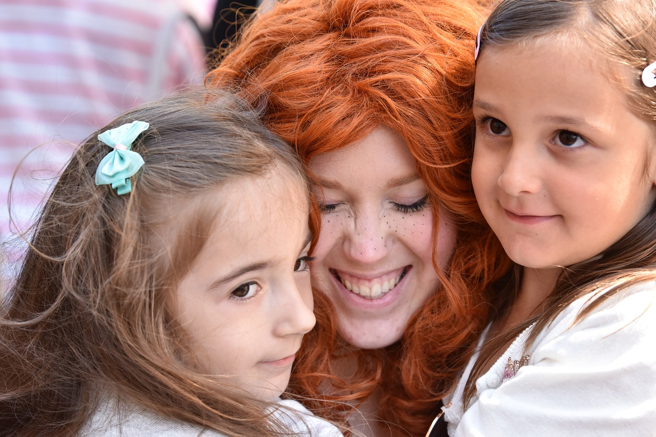 Girls meet Merida from Brave at Disneyland Resort in Anaheim