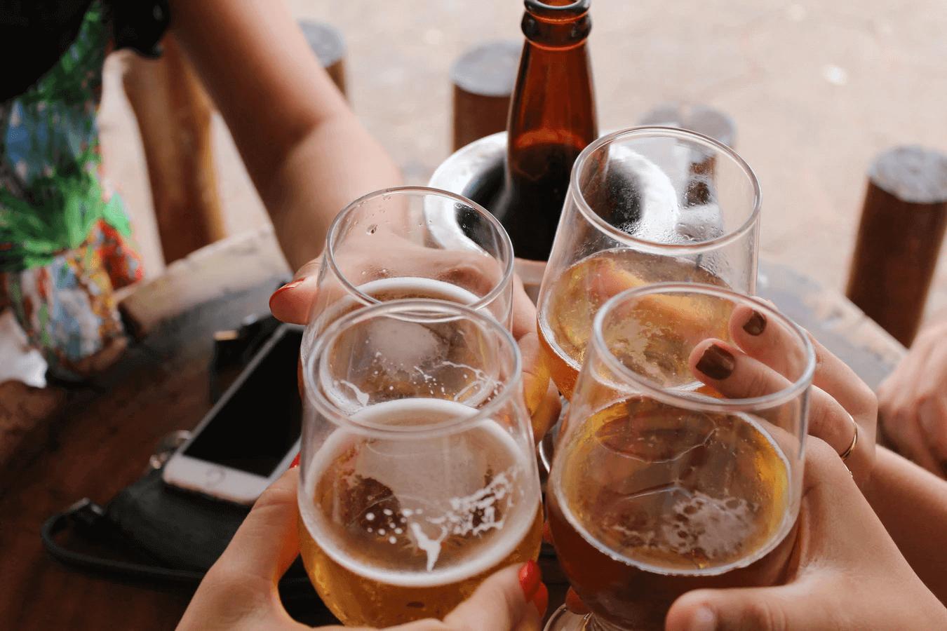 Friends drinking at Anaheim brewery