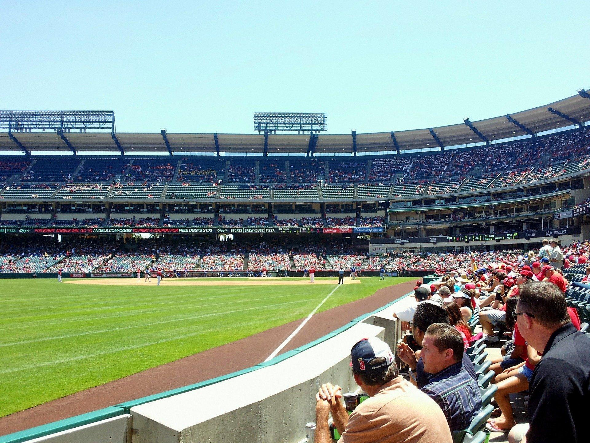 Angel Stadium with Crowd in Anaheim, California